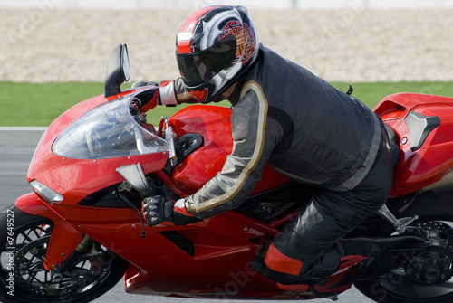 Superbike racing on track