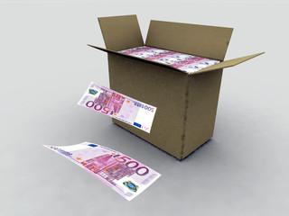 billetes en caja