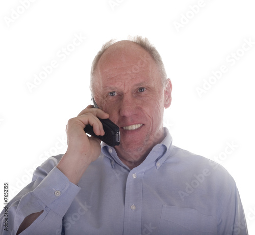 Man in Blue on Telephone