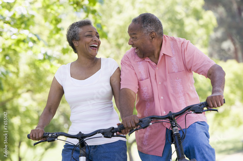 canvas print picture Senior couple on cycle ride