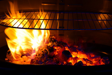 empty Barbecue Grill with flame and burning embers BBQ