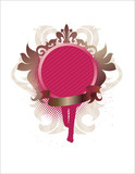 ornamental medallion with ribbon- red poster