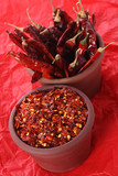 Hot Red Chilli Chillies and crushed pepper in two teracotta pots poster