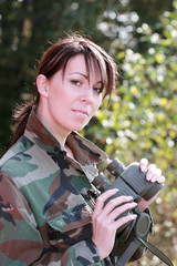 Girl with a binoculars