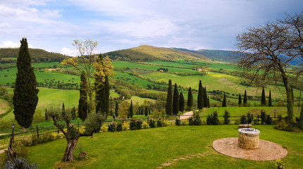 Landscape of Tuscany hills, in a spring day, after the rain