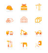 Construction tools, transportation, materials vector icon set.