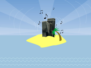 Vector Music City In The Ocean