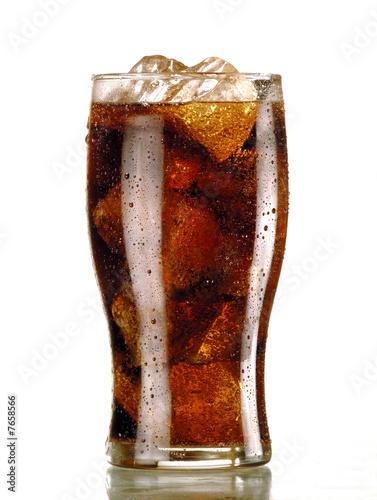 canvas print picture bicchiere di coca con ghiaccio