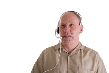 Man with Telephone Headset in Brown Shirt