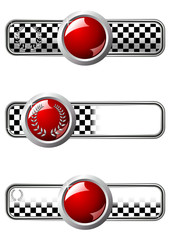 Different race badges with red round gem over white