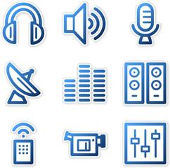 Media icons, blue contour series
