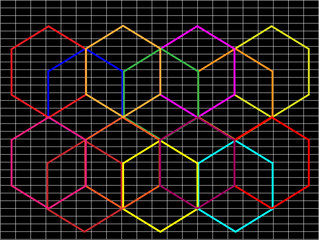 Abstract black background with multicolored hexagons on it