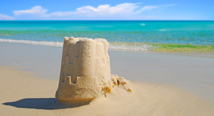 Sand Castle by Beautiful Ocean