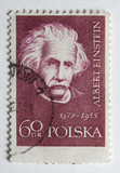 Albert Einstein on a vintage post stamp from Poland poster
