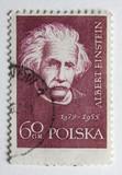 Albert Einstein on a vintage post stamp from Poland poster