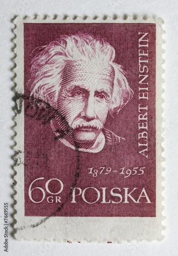 poster of Albert Einstein on a vintage post stamp from Poland