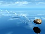 Fototapety pierre rond sur l'eau