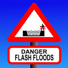 risk of flash flooding sign