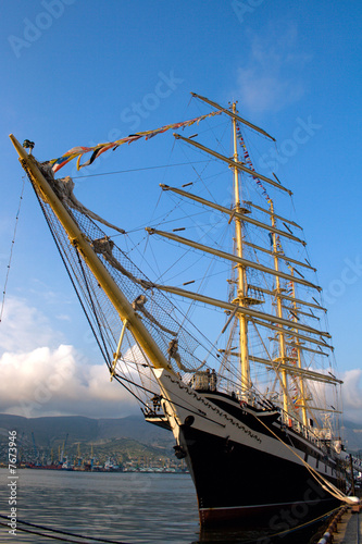 Sailing vessel at a mooring in port