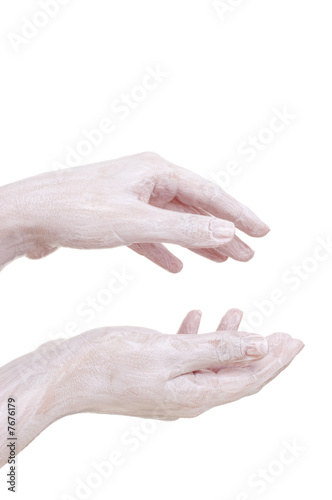cream on the hands, isolated