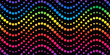 Seamless circle waves pattern - endless rainbow on black