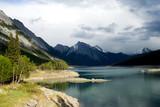 Medicine lake in Jasper National park, Canadian Rockies poster