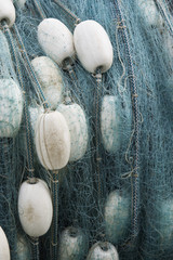 Rolled up fishing net, close up
