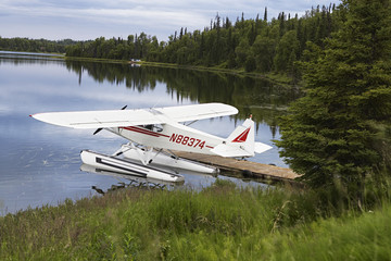 USA, Alaska, sea plane tied to pier on lake, elevated view