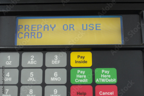 Screen of gas pump with automatic payment, close-up