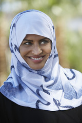 Portrait of muslim woman wearing headscarf