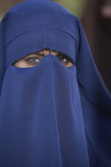 Portrait of muslim woman wearing niqab