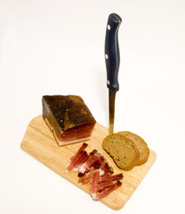 Wooden plate of speck