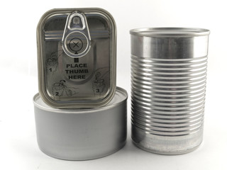 Three Different Types of Tin Can for Food White Backgound