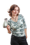 Woman with hairdryer - isolated poster