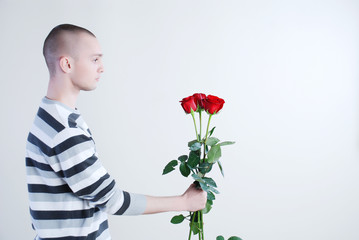 Man with roses