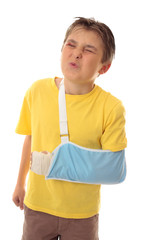 Child wincing painful accident injury