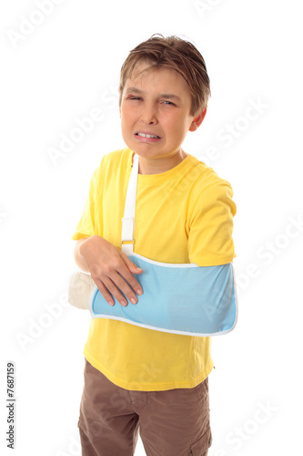 Unhappy boy broken arm