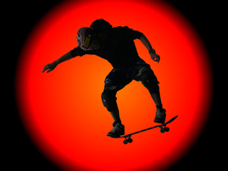 Skateboarder silhouetted against a huge sun