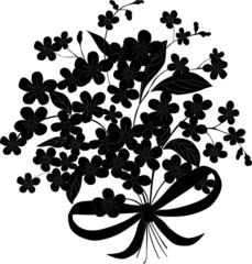 small flowers with bow silhouette