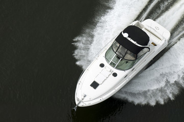 Black and White Speedboat