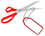 scissors cutting string of gift or sale tag
