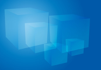 Abstract cubes blue