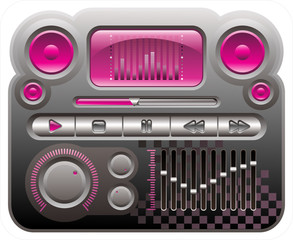 elements for skin of digital audio mp3 player, emo style
