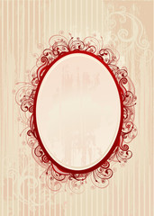 Illustration of romantic oval frame