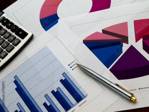 Multiple sales charts with pen