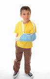 Hurt boy accident wearing an arm sling poster