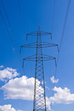 electrical powerlines with a blue sky poster