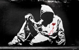 Fototapety Banksy Hoodie with Knife Graffiti