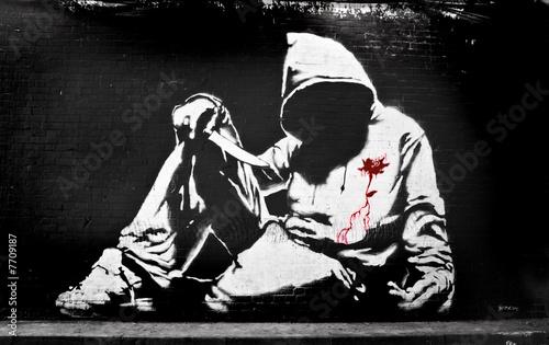 Banksy Hoodie with Knife Graffiti