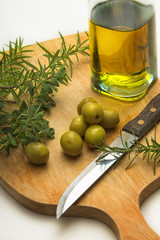 kitchen herbs and olive oil